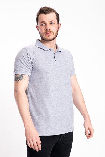 Erkek Gri Melanj Polo Yaka T-shirt