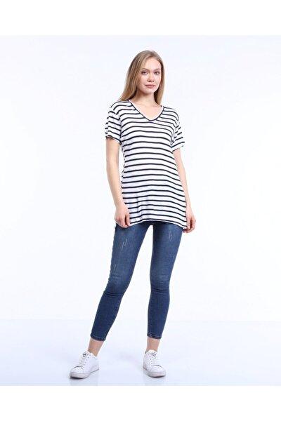 Kadın Mavi-Beyaz Yandan Yırtmaçlı  Çizgili T-shirt