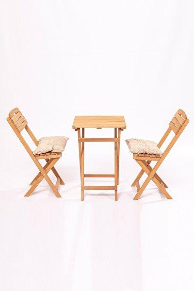 Minder Hediyeli Balkon Bahçe Mutfak 3'lü Bistro Set Katlanır 2 Sandalye 1 Masa