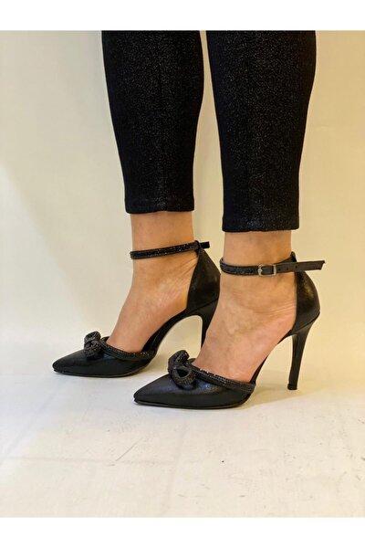 Kadın Siyah Karnıyarık Taş Detaylı Stiletto