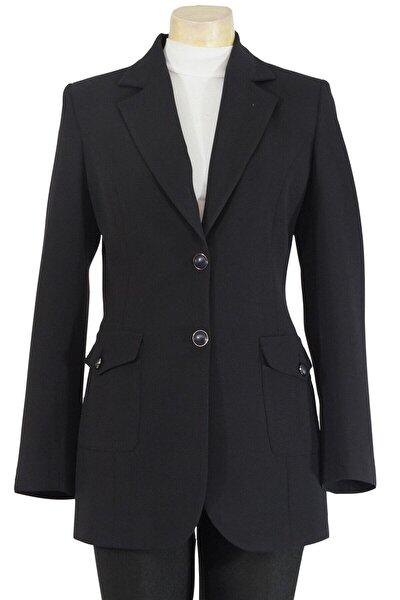 Kadın Mono Yaka Düğmeli Kapaklı Torba Cepli Astarlı Ceket
