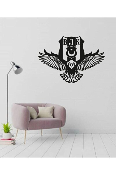 Beşiktaş Kartal Logosu Siyah Ahşap Lazer Tablo Mdf