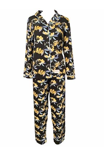 Kadın Pamuklu Pijama Takımı Siyah Üzeri Sarı Çiçek Desenli