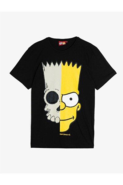 Erkek Siyah Simpson Lisanslı Baskılı T-Shirt