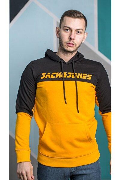 Erkek Turuncu Yazı Baskılı Sweatshirt