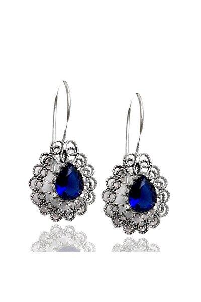 Mavi Taşlı Telkari Gümüş Bayan Küpe (Kod 2020721b)