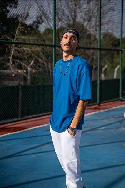 Erkek Oversize Mavi T-shirt
