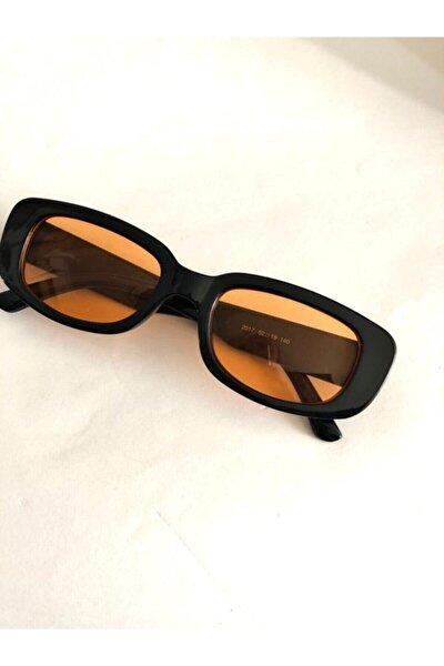 Unisex Turuncu Siyah Kare Dikdörtgen Vintage Retro Güneş Gözlüğü
