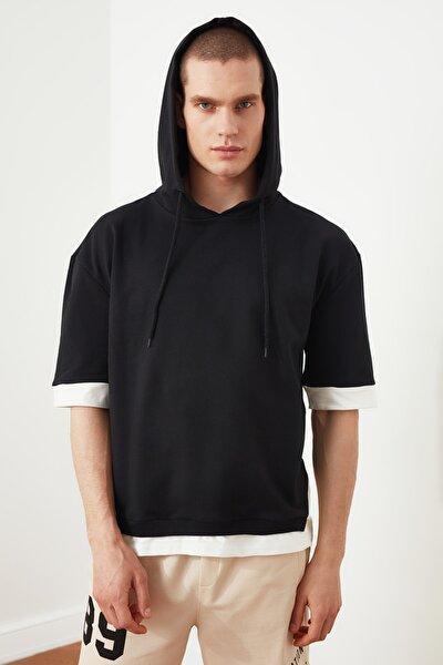 Siyah Erkek Oversize Fit Kontrast Detaylı Yarım Kol Sweatshirt TMNSS21SW0298