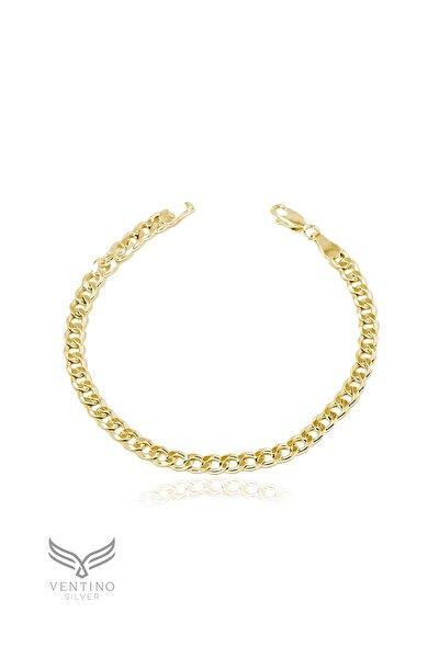 Gurmet 925 Ayar Gümüş Altın Kaplama Zincir Bileklik Veb-5213