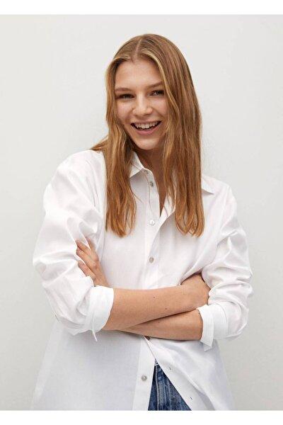 Kadın Beyaz Düğmeli Pamuklu Bluz