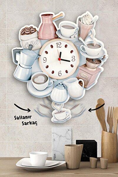 Kahve Deryası Sallanır Sarkaçlı Mutfak Duvar Saati