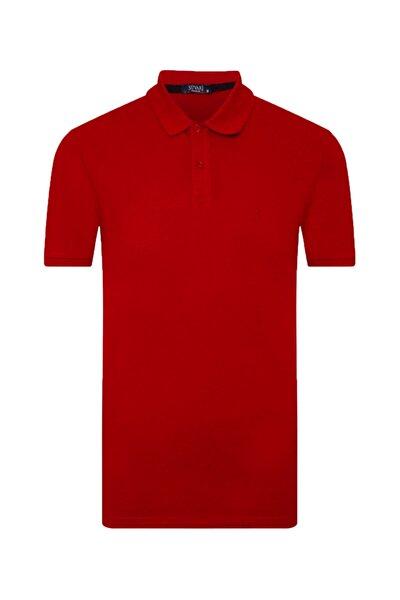 Erkek Kırmızı Bol Kesim Polo Yaka Açık Tişört