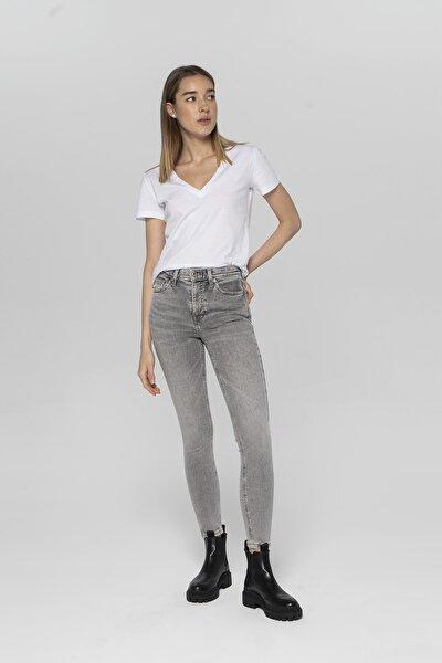 Judy Açık Gri Yüksek Bel Skinny Fit Jean Pantolon