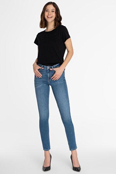 Kadın Açık Mavi Normal Bel Skinny Fit Jean Pantolon