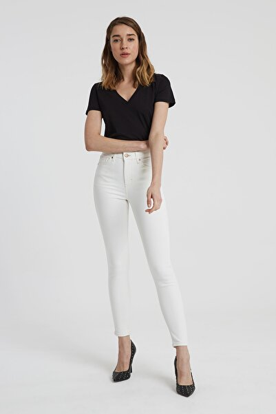 Judy Ekru Yüksek Bel Skinny Fit Jean Pantolon