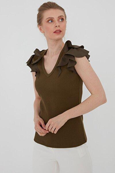 Kadın Haki Farbela Detaylı Bluz