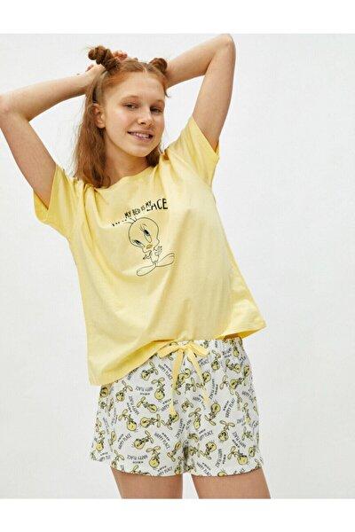 %100 Pamuk Warner Bros Lisanslı Tweety Temalı Pijama Takımı - Sarı