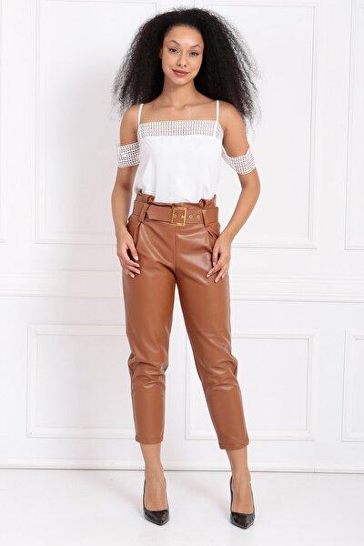Kadın Kahverengi Kemerli Yüksek Bel Yandan Gizli Fermuarlı Deri Pantolon