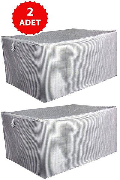 2 Adet Sandık Tipi Hurç Mega - Yastık&yorgan Vb. Hurcu 80x60x40 - Leke Tutmaz Çizgili