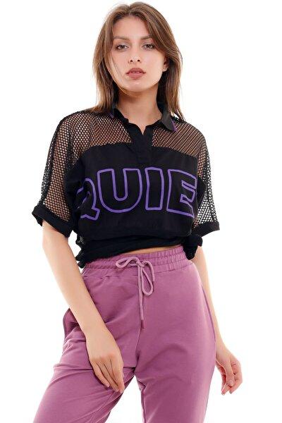 Kadın Siyah Quiet Baskılı Fileli T-Shirt