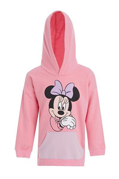 Kız Çocuk Pembe Minnie Mouse Lisanslı Kapüşonlu Sweatshirt