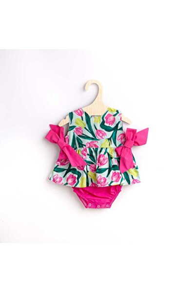 Kız Bebek Pembe Çiçekli Tulum