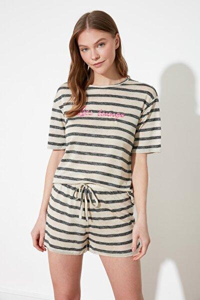 Çizgili Örme Pijama Takımı THMSS21PT0889