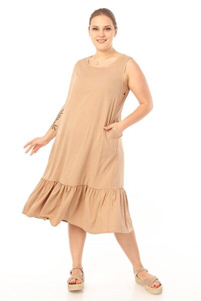 Kadın Büyük Beden Kolsuz Elbise