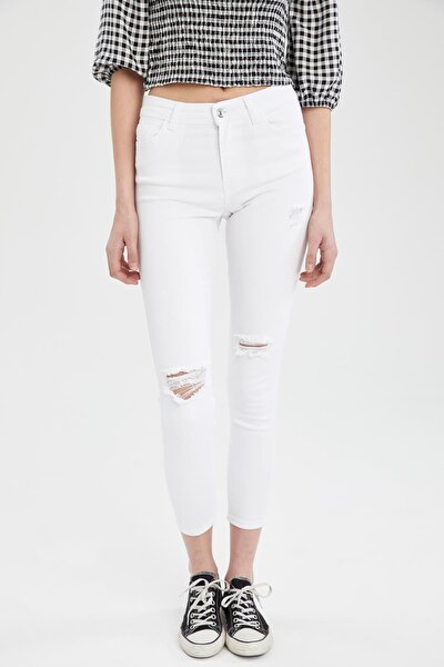 Skinny Fit Yırtık Detaylı Pantolon