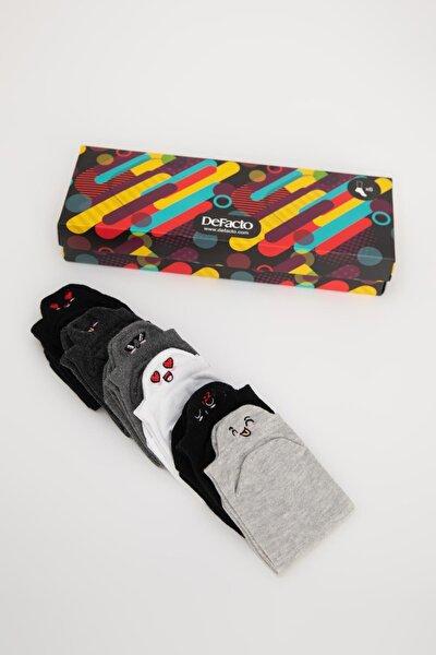 Eğlenceli Nakışlı 6'lı Kutulu Patik Çorap