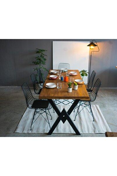 Masif Ahşap Eskitme Yemek Masası-80x120- 6 Kişilik
