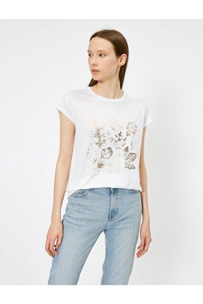 Kadın Ekru Baskili T-Shirt 0YAK13351EK