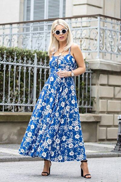 Kadın Mavi Fermuar Detay Tensel Kumaş Elbise