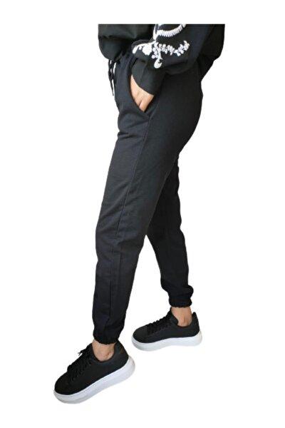 Kadın Siyah Paçası Lastikli Iki Iplik Jogger Eşofman Altı