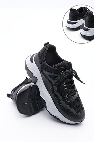 Kadın Sneaker Dolgu Topuk Spor Ayakkabı Cevassiyah
