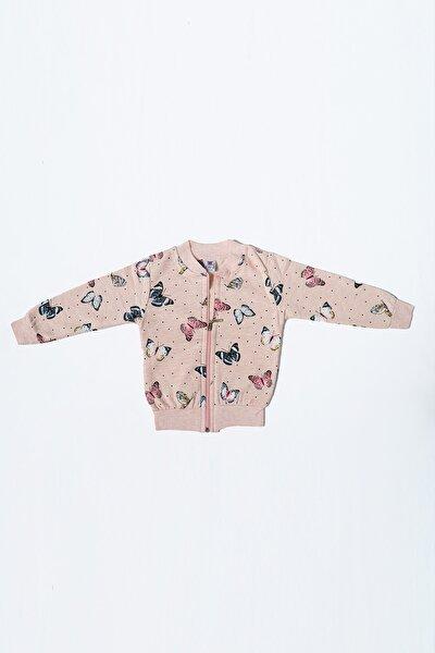 Kız Çocuk Kelebek Desenli Kışlık Ceket