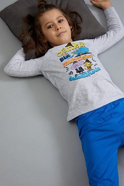Erkek Çocuk Gri Kral Şakir Lisanslı Pijama Takımı