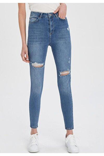 Anna Yüksek Bel Super Skinny Fit Yırtık Detaylı Jean Pantolon