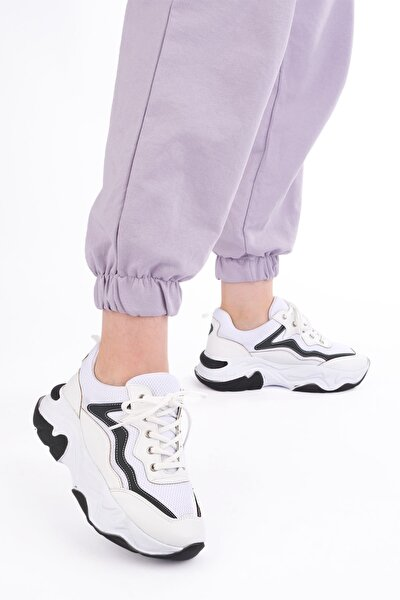 Kadın Beyaz Siyah Detaylı Yüksek Tabanlı Sneaker