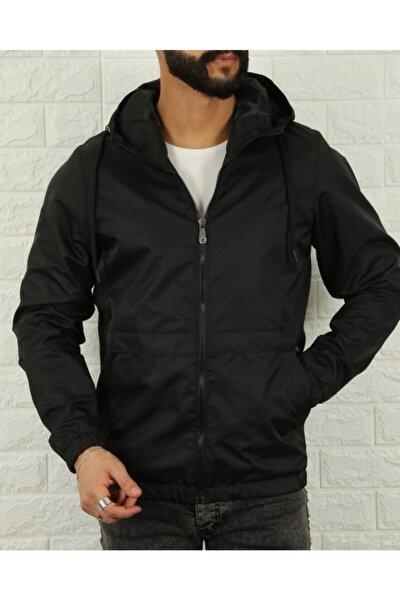 Erkek Slim Fit Siyah Su ve Rüzgar Geçirmez Mevsimlik Ceket