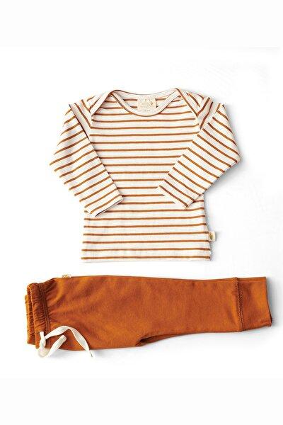 Unisex Bebek Kahverengi Çizgili Organik Uzun T-shirt Ve Pantolon