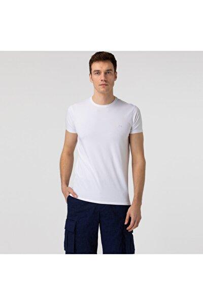 Erkek Slim Fit Bisiklet Yaka Beyaz T-shirt