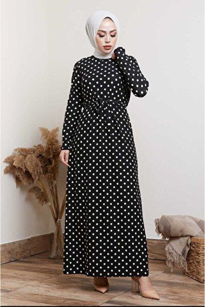 Kadın Siyah Puantiye Desenli Elbise