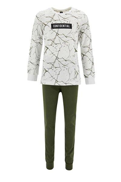 Erkek Çocuk Beyaz Sıçratma Desenli Pijama Uzun Kol Takımı