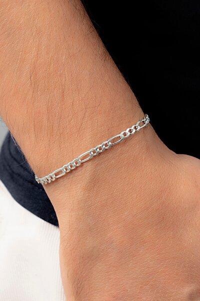 Figaro 925 Ayar Gümüş Erkek Zincir Bileklik Veb-5021