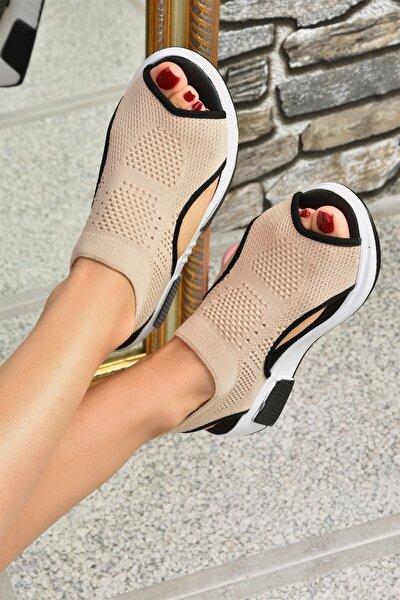 Kadın Bej Triko Kumaş Sandalet K239000804