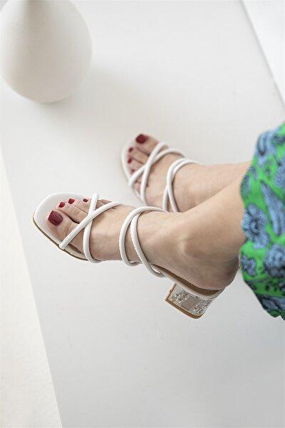 Paul Bayan Topuklu Sandalet Beyaz