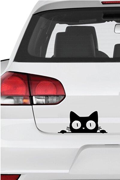 Bagajdan Bakan Kedi Sticker   Etiket   Siyah