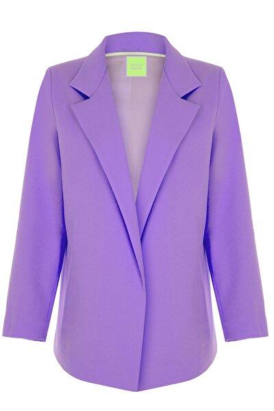 Kadın Lila Oversize Vatkalı Astarlı Ceket